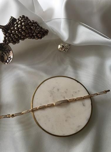 My Joyas Design Özel Seri Tasarım Geçişli Zirkon Taşlı Bileklik Altın